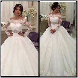 Wholesale Luxury Button Belt - Robe de mariage Saudi Arabia Wedding Dress Luxury Long Sleeve Wedding Dresses Lace Bride Ball Gown Crystals Belt Plus Size