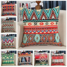 Wholesale wholesale native american - Retro Vintage Printed Pillow Case Covers 45*45cm Hand Crafted Native American Decorative Pillow Case Sofa Car Bed Cushion 120pcs OOA3644