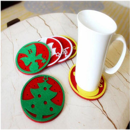 Wholesale Merry Christmas Green - 2016 Merry Christmas 10pcs lot Snowflakes coffte Cup Mat Christmas Decorations Dinner Party Dish Tray Pad for Home Decor