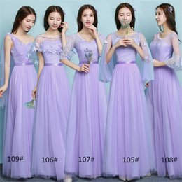 Wholesale One Dress Different Style Bridesmaid - Free Shipping Women's A-line Long Satin Tulle Scoop One Shoulder Cheap Lavender Prom Beach Bridesmaid Dresses Different Styles under 50