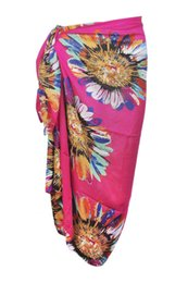 Wholesale Pareo Towels - Wholesale-Women's Stylish Swimsuit Pareo Colorful Sunflower Pattern Chiffon Beach Scarf Towel Cover Up