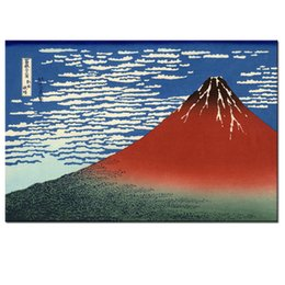 Wholesale Japanese Painting Canvas - Red Fuji Mountain Painting Canvas Print Japanese Landscape Canvas Printing Living Room Decoration
