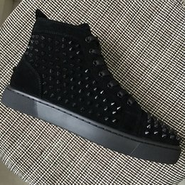 Wholesale flat bottom high tops - 2018 New Designer Men Women Black Suede Leather With Spikes High Top Red Bottom Sneakers,Luxury Lovers Casual Flat Shoes 35-47 Drop Shipping