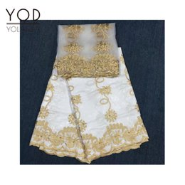 Wholesale Embroidery White Tulle Fabric - African YOD Bazin lace fabric suit with beads free shipping with 5 yards and 2 yards tulle lace in embroidery top quality