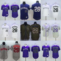 Wholesale Grey Outlet - Factory Outlet Personalize Mens Womens Kids Colorado Rockies 28 Nolan Arenado Green Grey Purple White Flex Base Cool Base Baseball Jerseys