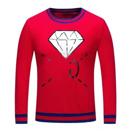 Wholesale Red Skull Sweater - 2017 Autumn And Winter G MEN HOODIES Long Sleeve Sweater Male Pure Cotton Round Neck Diamonds Pattern Printing RED AND BLACK M-XXXL