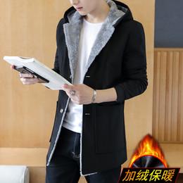 Wholesale Hooded Trench Wool Coat Men - Wholesale- Thickening plus velvet warm windbreaker jacket men solid color casual hooded winter trench coat men's clothing size m-5xl FY1