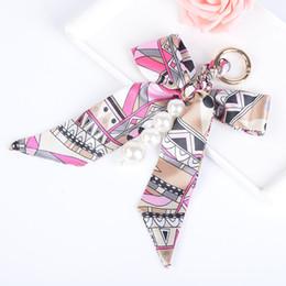 Wholesale Women Scarf Metal Pendant - Beautiful Bowknot Ribbon Pearl strip Metal Keychain Scarf Keyring Car Keychains Purse Charms Handbag Pendant Best Gift