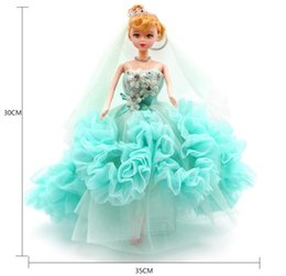 Wholesale Handmade Clothes For Girls - Handmade Concise Style Dress Wedding Party Gown Beige Color Multi Layers Lace Wear Veil Clothes For Barbie Doll Kids Toy Gift Key chain