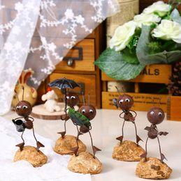 Wholesale Metal Garden Accessories - Zakka Shabby Chic Ants Home Decoration Accessories Metal Crafts Vintage Home Decor Sculpture Garden Decoration 5pcs set