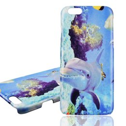 Wholesale Plastic Dolphin - Iphone 6 6s plus Cases 3D Dolphin Ocean underwater world Painting PC Anti-drop