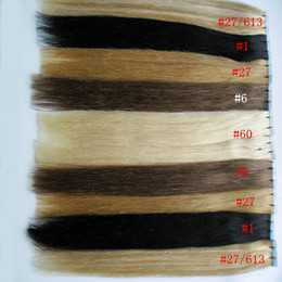 Wholesale wholesale brown tape - Human hair tape extensions 100g 40Pcs lot Blonde Brazilian Virgin Remy Skin Weft Tape Adhesive Hair Extensions tape in human hair extensions