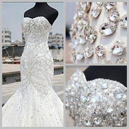 Wholesale Heavy Bridal Satin Wedding Dress - Custom Made Heavy Beaded Mermaid Wedding Dresses 2017 Sweetheart Mermaid Gorgeous Detail Bridal Gown Vestido De Nova