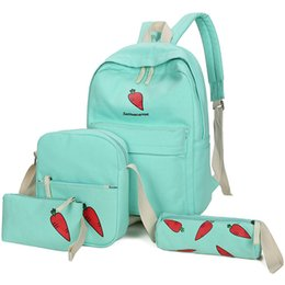 Wholesale Cartoon Body Suit - 4 piece suit backpack Fruit school bag Carrot lemon daypack Pocket case rucksack Outdoor schoolbag Sport day pack