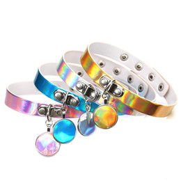Wholesale Steel Collar Woman Slave - 4 Colors Rainbow Laser PU Choker Necklace Collar Coin Pendant Sub Slave Necklace for Women Statement Jewelry 162092