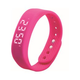 Wholesale Thin Band Digital Watch - Simple Smart Wrist Band Ultra Thin Pedometer Sport Watches For Women Ladies Digital Watch Jelly Color Smart Wristband T5
