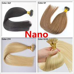Wholesale Nano Ring Hair Extensions Indian - Grade 10A--Double Drawn Thickness 100% Human Remy Hair Nano Ring hair extension, 0.5g per strand&200s per Lot, free DHL