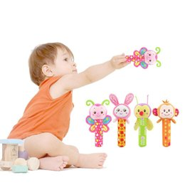 Wholesale Grip Rattle - 4 Styles Baby Hand Grip Rod Toys Educational Toys Rattle Animal BB Stick Hand Bell Toy For 0-3 years old baby