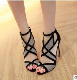 Wholesale Latex Sexy Black - South Korea fish lips sexy high-heeled sandals female summer color matching joker cross bind the new 2017 hollow-out peep-toe stilettos