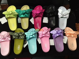 Wholesale Womens Sandals White - New Ladies Fenty Rihanna Bandana Slide Womens Slippers Red Green Free Shipping Indoor Sandals Size 36-40