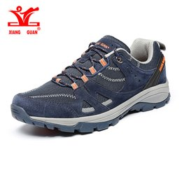 Wholesale Light Weight Cotton Fabric - 2017 XIANGGUAN Man Hiking Shoes Light Weight Waterproof Breathable Men Climbing Outdoor Sneakers Male Travel Shoes Size 39-45