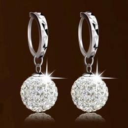 Wholesale Rhinestone Chandelier Wedding Earrings - 2017NEWShamballa Crystal Jewelry Sets Ball Bead Pendant Earring Jewelry Set 925 Sterling Silver Plating Women Wedding Jewelry FREE SHIPPING