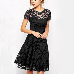 Wholesale Empire Blue Lace Dress - Newest Women's Lace Dresses with Short Sleeve Floral Printed Mini Dress Lady's Evening Party Dress ZL3027