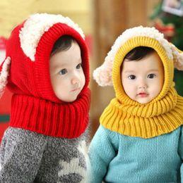 Wholesale Girls Beach Cover - kids winter hats fleece cover face Beanie hat Skul brand Cute dog collar knit caps designer sport earflaps cap keep warm