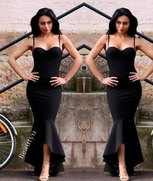 Wholesale Satin Mermaid Lace Up Back - Sexy Black Spaghetti Mermaid Formal Dresses Evening High Low Ruffle Skirt Lace Up Back Simple Satin Long Party Prom Gowns 2017 Arabic Dubai