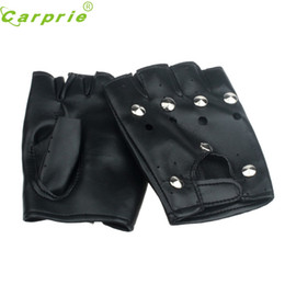 Wholesale Black Nail Gloves - Wholesale- Drop ship New Fashion Motorcycle Theatrical Punk Hip-hop PU Black Half-finger Leather Gloves Round Nail Mar716
