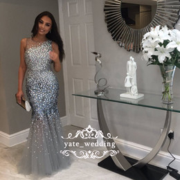 Wholesale beaded tulle evening dress - 2018 Stunning Silver Gray Mermaid Prom Dresses Sheer Neck Sleeveless Crystal Beaded Tulle Mermaid Evening Dresses Formal Gowns