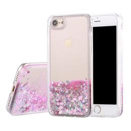 Wholesale 3d Bling Iphone Case - 3D Liquid Case For iPhone 7 Plus Glitter Quicksand Case Soft TPU heart Bling Bling Case For Iphone 6s Plus with opp Package