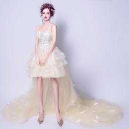 Wholesale Hi Lo Side Slit Gown - Fashion Romantic Hi-lo Wedding Dresses New 3D Floral Appliques Lace Long Sleeves Wedding Guest Formal Party Dresses Bridal Gowns