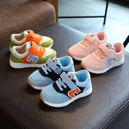 Wholesale Green Color Baby Shoes - Foreign trade 2017 autumn new letter m baby kids athletic shoes child breathable running sneakers boy girls green blue pink 5.5-9 size