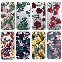 Wholesale Iphone 5s Vintage Cases - Fashion Vintage Floral Pattern Rose Sunflower Soft Tpu Phone Case Coque Fundas For iPhone 7Plus 7 6Plus 6 6S 5 5S 5C SE 4