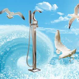 Wholesale Floor Stand Mounts - Wholesale And Retail Waterfall Spout Bathroom Tub Faucet Free Standing Square Tub Filler Handheld Sprayer Floor Mounted Brushed Nickel New
