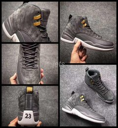 Wholesale Mens Gray Boots - 2017 New Air Retro 12 Men Basketball Shoes Grey Gray Retros 12s Boots Mens Sneakers Athletic Trainers Basket ball Sports Shoes 8-13