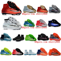 Wholesale Mens Outdoor Shoes Cheap - 2018 mens soccer cleats Mercurial Superfly V Ronalro FG indoor soccer shoes kids football boots cr7 boys neymar boots Rising Fast Pack cheap