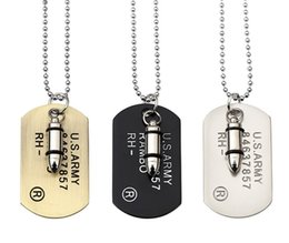 Wholesale Bullet Charms Jewelry - Army Style Bullet Dog Tag Pendant Necklace Women Men Punk Rock Hip Hop Chains Stainless Steel Cool Military Card Jewelry Gifts