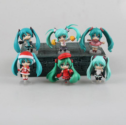 Wholesale Anime Figure Hatsune Miku - Hatsune Miku Q Ver. 6pcs set Nendoroid action anime cartoon figure limited edition collection Christmas gifts Decoration T7541