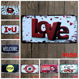 Wholesale Car Paintings - Love Welcome Coffee Stop Car Metal License Plate Vintage Home Decor Tin Sign Bar Pub Cafe Garage Decorative Metal Sign Art Painting Plaque
