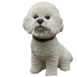 talla de figuras Rebajas Gran Bichon Frise Dog Siting Estatua Coleccionable Figura White Hand Tallado Resina Dog Figure for Table Decor