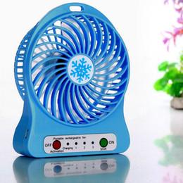 Wholesale Li Ion China - Portable Mini USB Fan 3.7V Li-ion 1200mAh Battery Rechargeable Multifunctional 3 Gear Speed 4.5W Super Strong Wind Cooling Fan