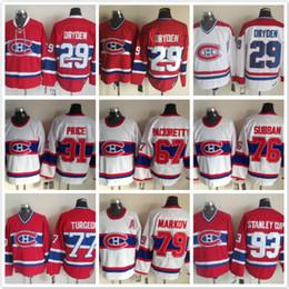 Wholesale Ken Dryden Jersey - Throwback Montreal Canadiens 29 Ken Dryden 31 Carey Price 67 Max Pacioretty 76 Subban Pierre Turgeon 79 93 White red Ice Hockey Jerseys