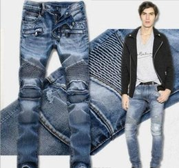 Wholesale Motorcycle Colours - 3 colour!Men's Distressed Ripped Jeans Famous Fashion Cool Designer Slim Motorcycle Biker Causal Denim Pants Runway Jeans