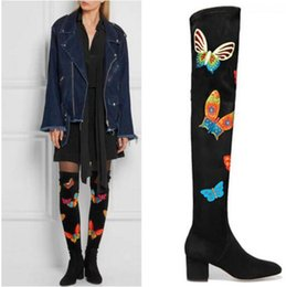Wholesale Medium Long Women Dresses - 2017 women thigh high boots butterfly long booties square heel point toe fabric cloth booties dress shoes over knee high boots