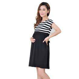 Wholesale Dresses For Pregnant Ladies - Women Long stripe Dresses Maternity Nursing dresses for Pregnant Women ladies Women's Clothing Mother Clothes 2114016