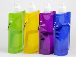 Wholesale Portable Pe Foldable Water Bottle - Summer hot Eco-Friendly Portable Foldable Reuseable 480ml water bottle with Carabiner for outdoor sports travel folding bags