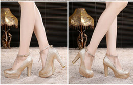 Wholesale Dress Pvc Golden - HOT! Women's dress shoes Autumn winter New golden Wedding shoe High heels Thick with shallow mouth Round head Grind arenaceous Wedding shoes