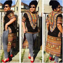Wholesale Vintage Ethnic Dress - Dashiki Dresses Women Boho Tranditional African Print Ethnic Style Front Short Summer Indian T Shirt Vintage Bodycon Dress Tunic Vestido